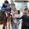 Cloe Hymowitz, Richard Orlinski, Virginie Coupérie-Eiffel, Charles Berling - Paris Eiffel Jumping, présenté par Gucci, au Champ de Mars à Paris le 5 juillet 2014.