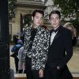 Peter Jr et Harry Brant (fils de Stephanie Seymour et Harry Brant) arrivent à l'hôtel Salomon de Rothschild pour assister au défilé Valentino haute couture automne-hiver 2014-2015. Paris, le 9 juillet 2014.