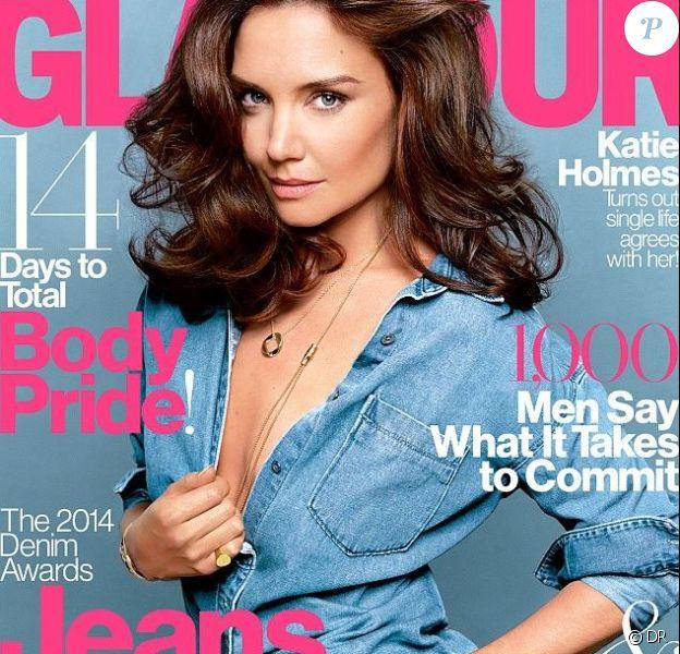Katie Holmes en couverture de Glamour US, édition août 2014.