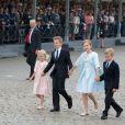 La Princesse Eléonore, le Prince Gabriel, la Princesse Elisabeth et le Prince Emmanuel de Belgique assistent au défilé militaire à l'occasion de la fête nationale belge en Belgique à Bruxelles le 21 juillet 2014.  Military parade on the Belgian National Day in Belgium, Brussels, July 21, 2014.21/07/2014 - Bruxelles