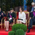 Le Prince Lorenz de Belgique, la Princesse Astrid de Belgique, la Princesse Claire de Belgique et le Prince Laurent de Belgique assistent au défilé militaire à l'occasion de la fête nationale belge en Belgique à Bruxelles le 21 juillet 2014.  Military parade on the Belgian National Day in Belgium, Brussels, July 21, 2014.21/07/2014 - Bruxelles