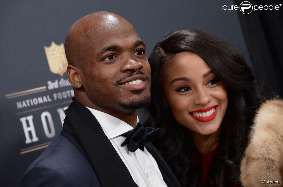 Adrian Peterson et sa compagne Ashley Brown, le 1er février 2014 lors des NFL Honors au Radio City Music Hall de New York
