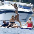 Sylvester Stallone profite de ses vacances avec sa femme Jennifer Flavin et ses trois filles, à Théoule-sur-Mer, sud de la France, le 28 juillet 2014.