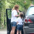 Exclusif - Geri Halliwell et sa fille Bluebell Madonna dans les rues de Londres. Le 29 juillet 2014.