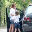 Exclusif - Geri Halliwell dans les rues de Londres avec sa fille Bluebell Madonna. Le 29 juillet 2014.