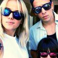 Alizée, Annily et Grégoire Lyonnet en vacances en Corse, le 2 août 2014.