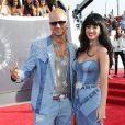 Riff Raff et Katy Perry, tout habillés de Versace, assistent aux MTV Video Music Awards 2014 au Forum. Inglewood, Los Angeles, le 24 août 2014.