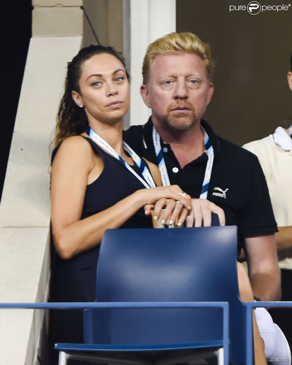 Boris Becker et son épouse Lilly kerssenberg lors de la victoire de Maria Sharapova sur Maria Kirlenko au premier tour de l'US Open à l'USTA Billie Jean King National Tennis Center de New York le 26 août 2014