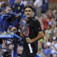 Roger Federer après sa victoire au premier tour de l'US Open sur Marinko Matosevic à l'USTA Billie Jean King National Tennis Center de New York, le 26 août 2014