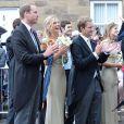 Le prince William et Chelsy Davy, ex du prince Harry, au mariage de Thomas van Straubenzee et Lady Melissa Percy à Northumbria en Angleterre, le 21 juin 2013