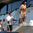 Lionel Richie et sa très jeune compagne sur le bateau de Sir Philip Green, le 27 août 2014