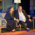 """Gérard Depardieu et Fanny Ardant dans la pièce de théâtre """"La Musica Deuxième"""" de Marguerite Duras à Riga en Lettonie le 29 août 2014"""