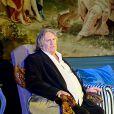 """Gérard Depardieu dans la pièce de théâtre """"La Musica Deuxième"""" de Marguerite Duras à Riga en Lettonie le 29 août 2014"""