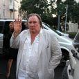 """Gérard Depardieu assiste à la première de son film """"Viktor"""" à Riga en Lettonie le 2 septembre 2014"""