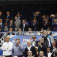Emmanuel Macron, François Rebsamen, Noël Le Graët, Manuel Valls, Najat Vallaud-Belkacem lors du match amical entre la France et l'Espagne (1-0) le 4 septembre 2014 au Stade de France à Saint-Denis