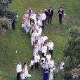 Exclusif - Jessica Simpson, Ace Johnson, Eric Johnson, Maxwell Johnson, Donald Faison, CaCee Cobb - Mariage de Ashlee Simpson et Evan Ross (fils de Diana) dans la maison de Diana Ross à Greenwich dans le Connecticut, le 30 août 2014.