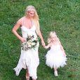 Exclusif - Jessica Simpson et sa fille Maxwell Johnson - Mariage de Ashlee Simpson et Evan Ross (fils de Diana) dans la maison de Diana Ross à Greenwich dans le Connecticut, le 30 août 2014.