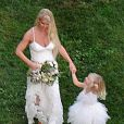 Exclusif - Jessica Simpson et sa fille Maxwell Johnson lors du mariage de sa soeur Ashlee Simpson avec Evan Ross (fils de Diana) dans la maison de la chanteuse à Greenwich dans le Connecticut, le 30 août 2014.