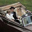 Exclusif - Evan Ross et Ashlee Simpson, avec son fils Bronx, lors de leur mariage dans la maison de Diana Ross à Greenwich dans le Connecticut, le 30 août 2014.