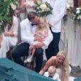 Exclusif - Jessica Simpson, Ace Johnson, Eric Johnson et Maxwell Johnson - Mariage de Ashlee Simpson et Evan Ross (fils de Diana) dans la maison de Diana Ross à Greenwich dans le Connecticut, le 30 août 2014.