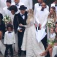 Exclusif - Evan Ross, Ashlee Simpson et son fils Bronx Wentz lors de leur mariage dans la maison de Diana Ross à Greenwich dans le Connecticut, le 30 août 2014.