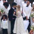 Exclusif - Evan Ross, Ashlee Simpson lors de leur mariage dans la maison de Diana Ross à Greenwich dans le Connecticut, le 30 août 2014.