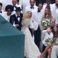 Exclusif - Evan Ross, Ashlee Simpson avec son fils, Bronx Wentz, lors de leur mariage dans la maison de Diana Ross à Greenwich dans le Connecticut, le 30 août 2014.