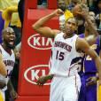 Ivan Johnson et Al Horford lors d'un match entre les Hawks d'Atlanta et les Lakers de Los Angeles, le 13 mars 2013 à Atlanta
