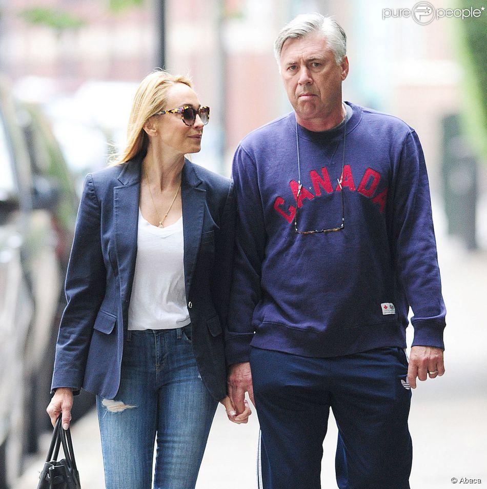 Carlo Ancelotti et sa femme Mariann Auger à Londres, le 8 septembre 2014