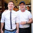 Lionel Messi et sa jolie petite amie Antonella Rocuzzo se rendent dans la boutique Dolce & Gabanna en compagnie de Domenico Dolce à Milan, le 7 septembre 2014.