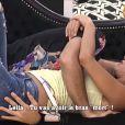 Aymeric et Leïla dans la quotidienne de Secret Story 8, sur TF1, le vendredi 12 septembre 2014