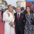 """Olivier Dassault, sa femme Natacha Nikolajevic et sa fille Helena - Avant-première du film """"Sin City"""" lors du 40ème festival du cinéma américain de Deauville, le 13 septembre 2014."""