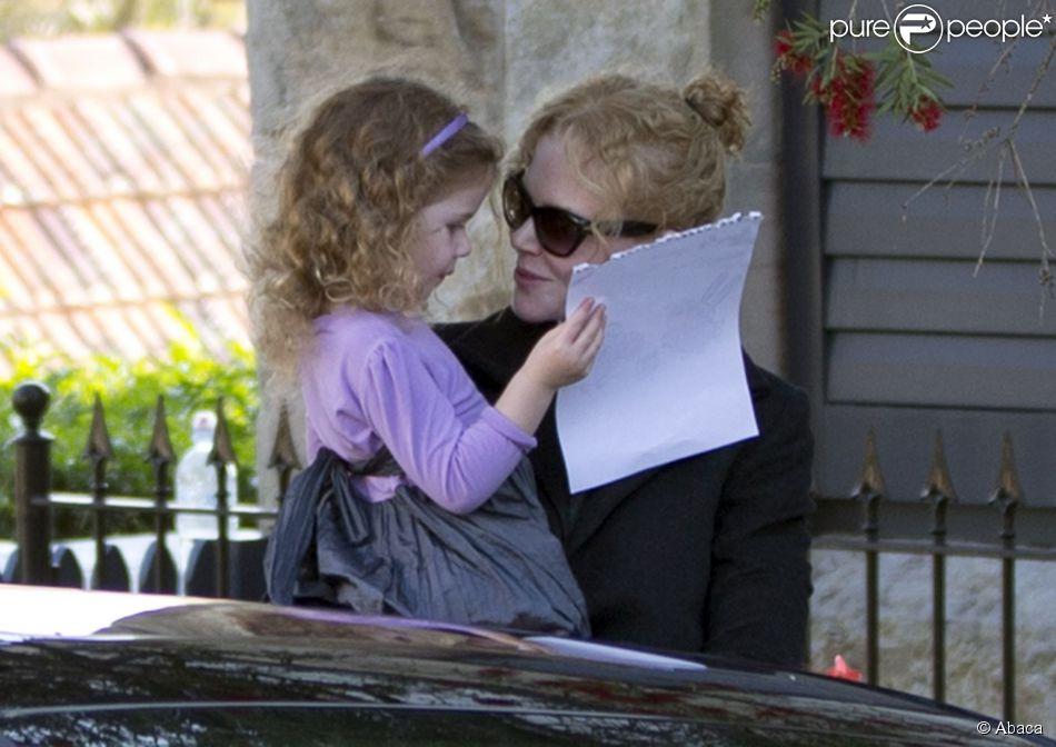 Nicole Kidman, avec sa fille Sunday, rend visite à sa mère Janelle à Sydney en Australie après l'annonce tragique du décès de son père Antony Kidman. 14 septembre 2014