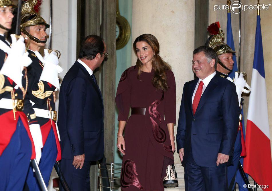 La reine Rania de Jordanie et le roi Abdullah II de Jordanie étaient reçus le 17 septembre 2014 à l'Elysée par le président François Hollande pour un dîner de travail.