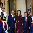 Rania et Abdullah II de Jordanie étaient accueillis le 17 septembre 2014 à l'Elysée par le président François Hollande pour un dîner de travail.