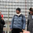 Jamel Debbouze, Maxime Musqua et Toumi Djaidja arrivent sur le parvis de la gare Montparnasse, le 20 novembre 2013 à Paris.