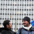 Jamel Debbouze et Maxime Musqua à Paris, près de la Gare Montparnasse, bouclent ensemble la Marche pour l'égalité initiée par Le Petit Journal, le mercredi 20 novembre 2013.