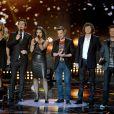 "Cathy Guetta, Guillaume Pley, Faustine Bollaert, Morgan Serrano, Cali et David Hallyday - Emission ""Rising Star"" sur M6. Le 25 septembre 2014."