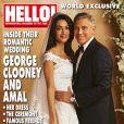 Les mariés George Clooney et Amal Alamuddin en couverture du magazine Hello!