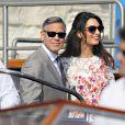 George Clooney et sa femme Amal Alamuddin apparaissent pour la première fois après leur mariage, le 28 septembre 2014, quittant l'Aman Grande Canal Venice après leur nuit de noces pour rallier le Cipriani pour un brunch avec leurs proches.