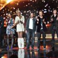 "Guillaume Pley, Faustine Bollaert, Cathy Guetta, Morgan Serrano, Davis Hallyday et Cali - Deuxième prime de ""Rising Star"" sur M6. Le 2 octobre 2014."