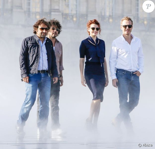 Exclusif - Le jury de la Nouvelle Star: André Manoukian, Yarol Poupaud, Elodie Frégé et Sinclair pendant le tournage à Bordeaux, France le 15 Septembre 2014