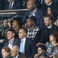 Beyoncé, Jay Z, David Beckham, Fabio Cannavaro, Patrick Bruel et sa compagne Caroline, Jean Sarkozy, Jamel Debbouze et Lilian Thuram - Match PSG-Barcelone de la Ligue des Champions au parc des princes à Paris le 30 septembre 2014. Le PSG à remporté le match sur le score de 3-2.