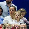 Laure Manaudou et sa fille Manon assistent à la finale de l'open 13 de tennis à Marseille le 23 février 2014