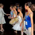 La princesse héritière Elisabeth de Belgique, 12 ans, accompagnait sa mère la reine Mathilde de Belgique lors de la finale du concours Genée International Ballet Competition à Anvers, le 27 septembre 2014
