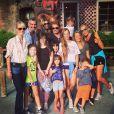 Johnny Hallyday, Laeticia, Estelle Lefébure, François Vincentelli et les enfants à Knott's Berry Farm, juillet 2014.