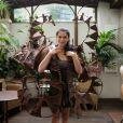 Jovanka Sopalovic lors de l'essayage de sa robe imaginé par le chocolatier Jean-Claude Jeanson et le styliste Lenaklax and Peggy H à l'Hôtel Best Western Premier Trocadéro La Tour le 29 septembre 2014 pour le defilé du 20e Salon du Chocolat, à Paris