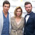 Caroline Receveur entre son fiancé Valentin Lucas et Jérémy Coquement (fondateur de Crush Magazine) - Inauguration du Chess Hotel au 6 Rue du Helder en partenariat avec Crush Magazine à Paris, le 10 octobre 2014.