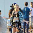 Fergie en plein tournage de son clip dans les rues de Los Angeles, le 19 octobre 2014.