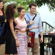 Exclusif - Matthew Morrison et sa femme Renee Puente sont allés déjeuner avec des amis à Hawaii. Le 19 octobre 2014